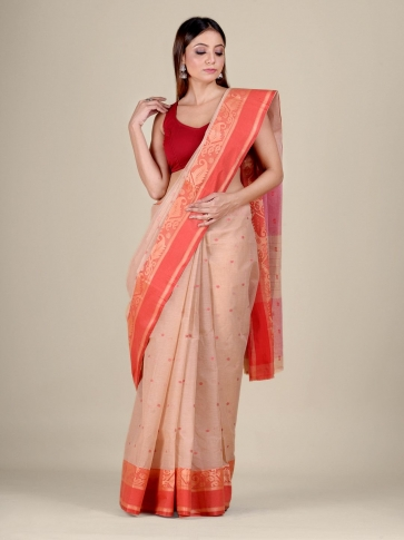Beige Cotton hand woven Tant saree with Red border