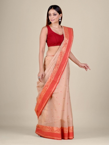 Beige Cotton hand woven Tant saree with Red border 0