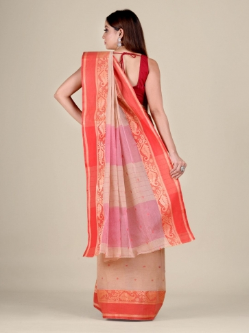 Beige Cotton hand woven Tant saree with Red border 2