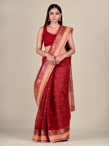 Red Cotton hand woven Tant saree with Cream border