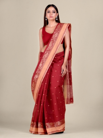 Red Cotton hand woven Tant saree with Cream border 0