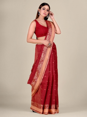 Red Cotton hand woven Tant saree with Cream border 1