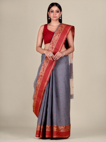 Ash Cotton hand woven Tant saree with Red border