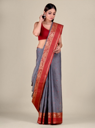Ash Cotton hand woven Tant saree with Red border 1