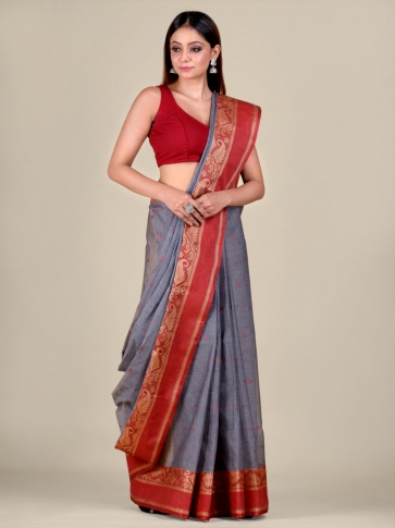 Ash Cotton hand woven Tant saree with Red border 0