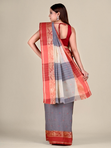 Ash Cotton hand woven Tant saree with Red border 2