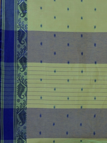 Green Cotton hand woven Tant saree with Blue border 2
