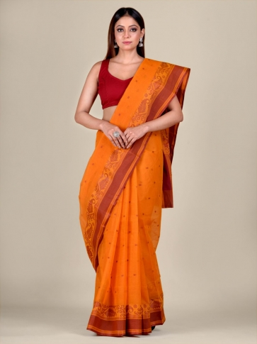Orange Cotton hand woven Tant saree with Brown border