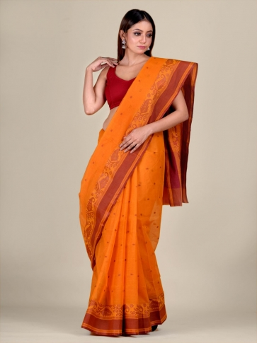 Orange Cotton hand woven Tant saree with Brown border 1