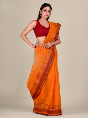 Orange Cotton hand woven Tant saree with Brown border 0
