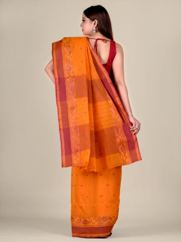 Orange Cotton hand woven Tant saree with Brown border 2