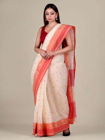 White Cotton hand woven Tant saree with Red border 1