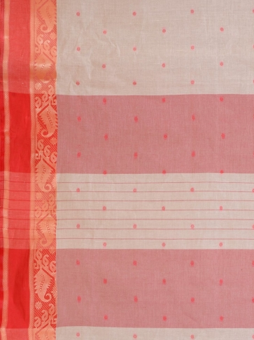 White Cotton hand woven Tant saree with Red border 2