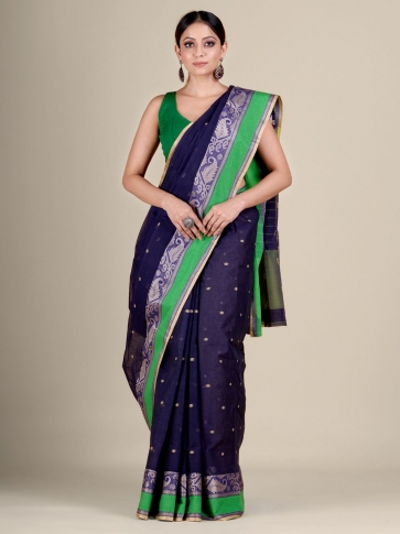 Blue Cotton hand woven Tant saree with Green border