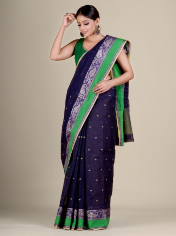 Blue Cotton hand woven Tant saree with Green border 0