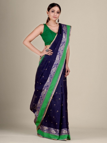 Blue Cotton hand woven Tant saree with Green border 1