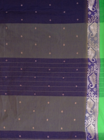 Blue Cotton hand woven Tant saree with Green border 2
