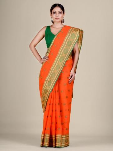 Orange Cotton hand woven Tant saree with nakshi border