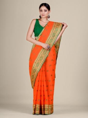 Orange Cotton hand woven Tant saree with nakshi border 1