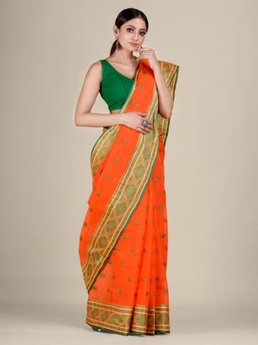 Orange Cotton hand woven Tant saree with nakshi border 0