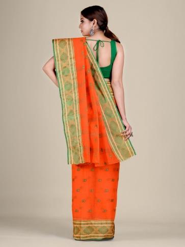 Orange Cotton hand woven Tant saree with nakshi border 2