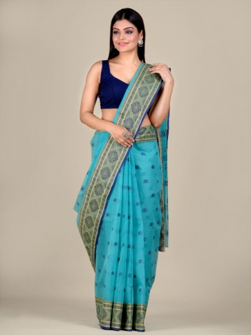 Blue Cotton hand woven Tant saree with nakshi border