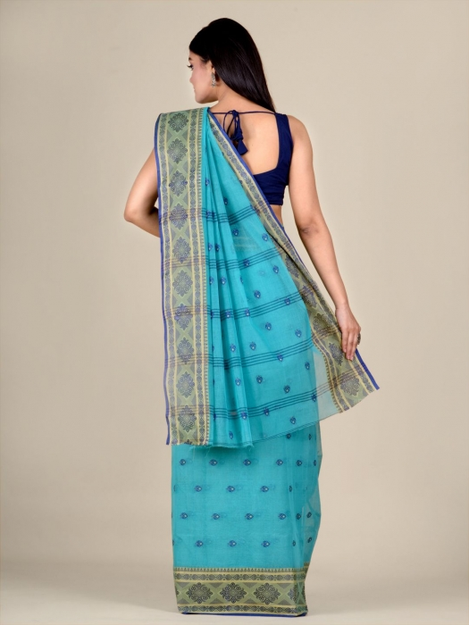 Blue Cotton hand woven Tant saree with nakshi border 2