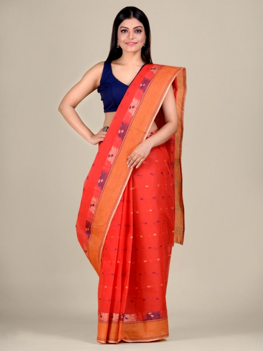 Red Cotton hand woven Tant saree with Orange border