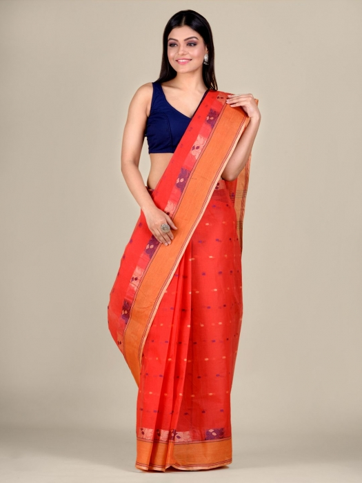Red Cotton hand woven Tant saree with Orange border 1