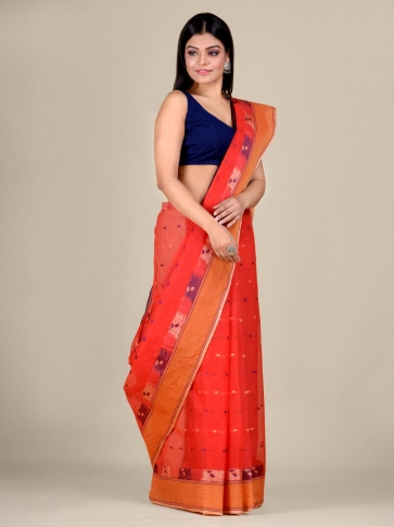 Red Cotton hand woven Tant saree with Orange border 0