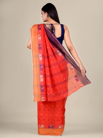 Red Cotton hand woven Tant saree with Orange border 2