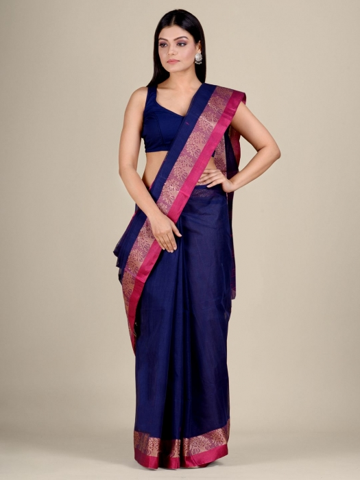 Blue Cotton hand woven Tant saree with Red border