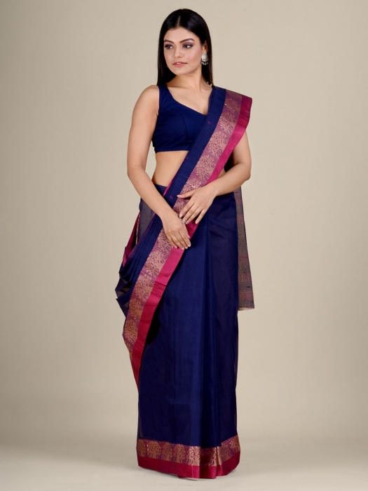Blue Cotton hand woven Tant saree with Red border 1