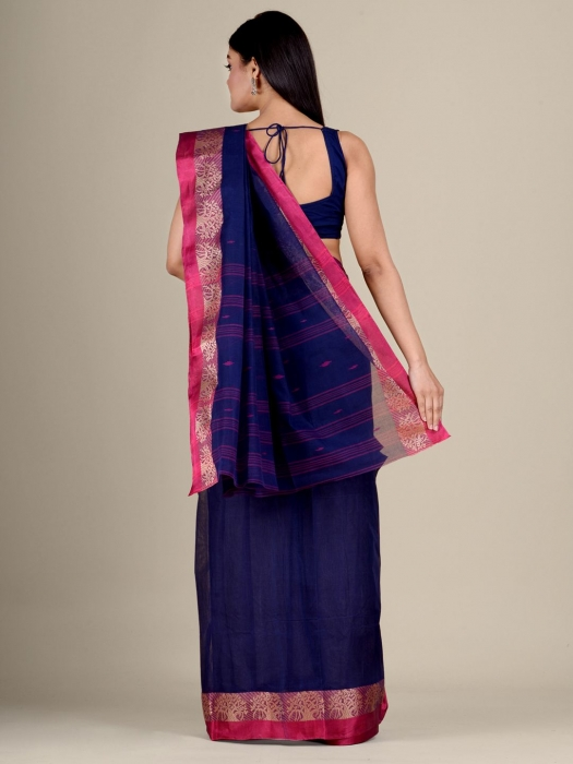 Blue Cotton hand woven Tant saree with Red border 0