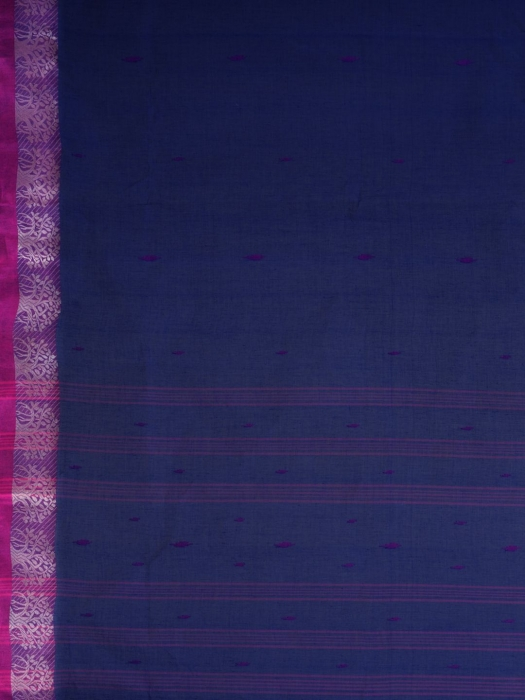 Blue Cotton hand woven Tant saree with Red border 2