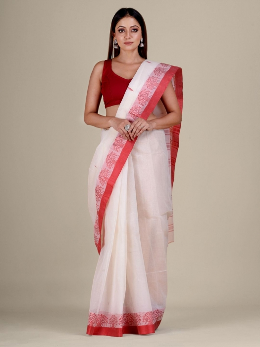 White Cotton hand woven Tant saree with Red border
