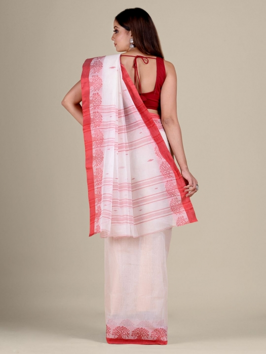 White Cotton hand woven Tant saree with Red border 0