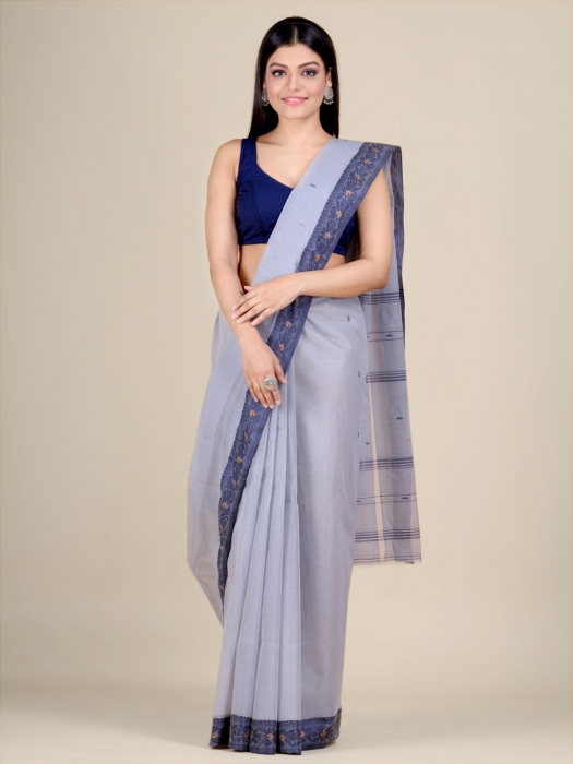Grey Cotton hand woven Tant saree with Blue border