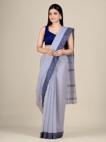 Grey Cotton hand woven Tant saree with Blue border 1