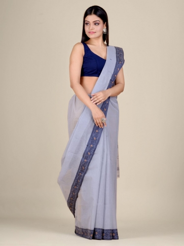 Grey Cotton hand woven Tant saree with Blue border 0
