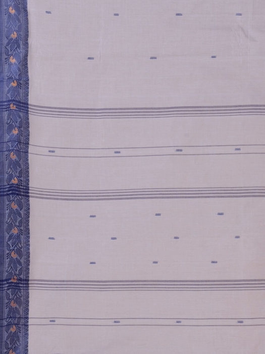 Grey Cotton hand woven Tant saree with Blue border 2