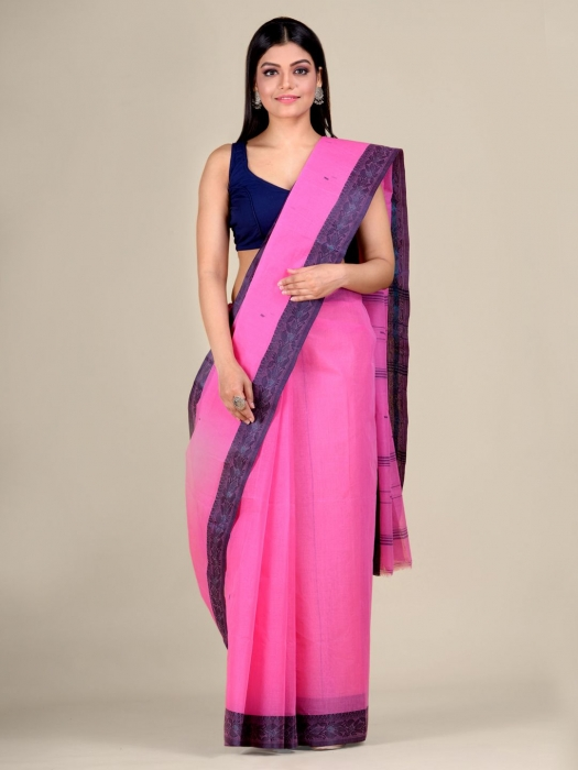 Pink Cotton hand woven Tant saree with Grey border