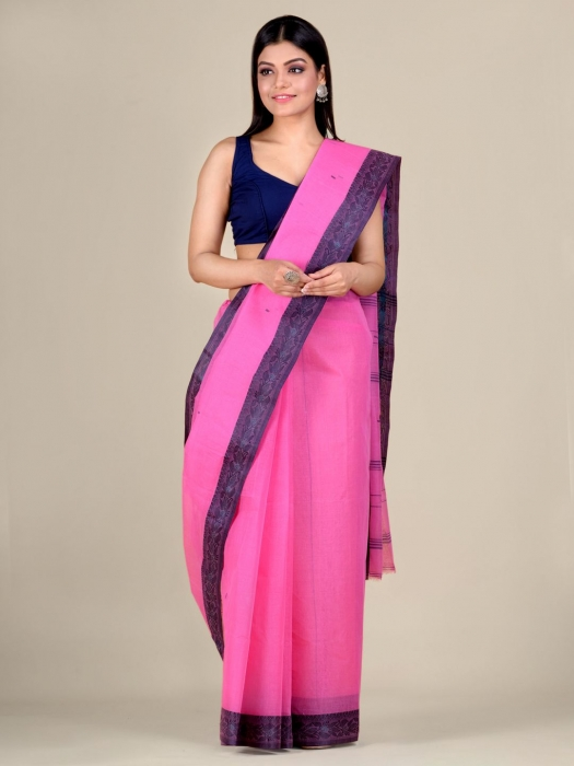 Pink Cotton hand woven Tant saree with Grey border 0
