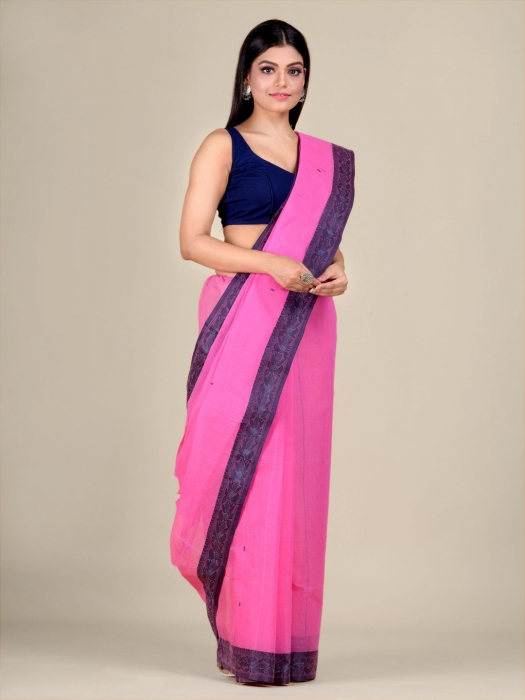 Pink Cotton hand woven Tant saree with Grey border 2