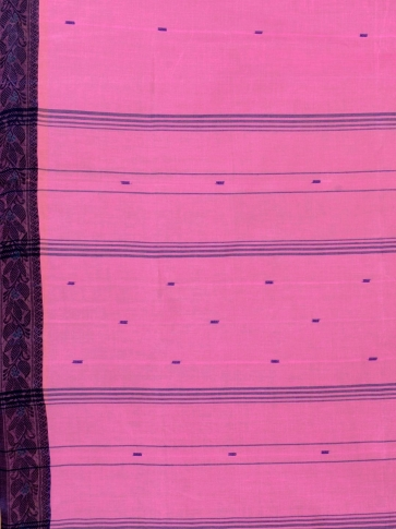 Pink Cotton hand woven Tant saree with Grey border 1