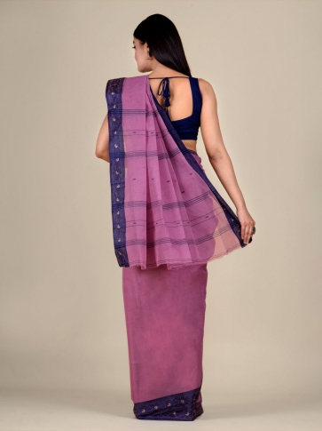 Faded Pink Cotton hand woven Tant saree with Blue border 0