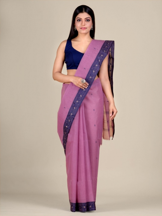Faded Pink Cotton hand woven Tant saree with Blue border 1