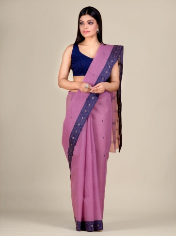 Faded Pink Cotton hand woven Tant saree with Blue border