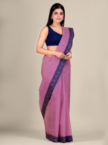 Faded Pink Cotton hand woven Tant saree with Blue border 2
