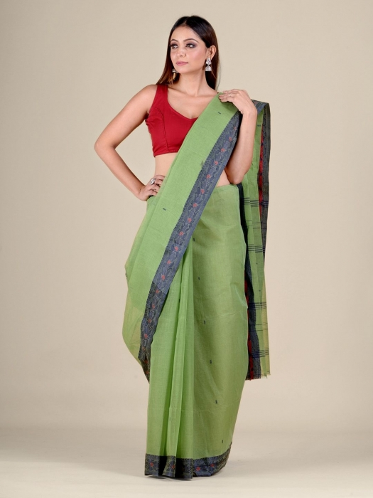 Green Cotton hand woven Tant saree with Blue border